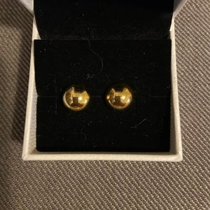 Gold tone button-style stud earrings